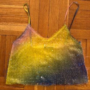 Zara rainbow sequin crop tank